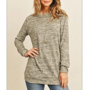 Two toned oatmeal sweatshirt tunic